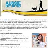 Facebook landing page for Aussie Pet Sitter