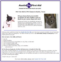 custom Facebook landing page for Austin Pet First Aid