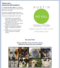 Custom Facebook landing page for No Kill Austin