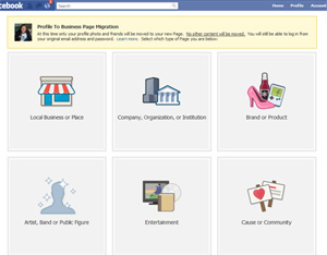 how to convert a facebook profile to a page