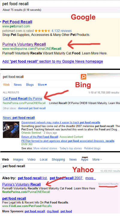 Purina uses pay per click ads to announce Purina ONE Vibrant Maturity cat food recall
